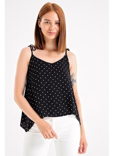 Jument Desenli Askılı Bol Kesim Bluz -Beyaz P Siyah